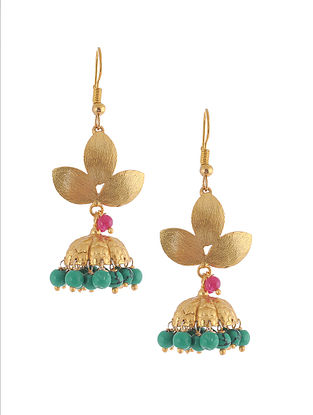 Green-Pink Gold Plated Brass Jhumkis