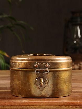 Vintage Brass Chapati Box (Dia - 6in, H - 3.5in)