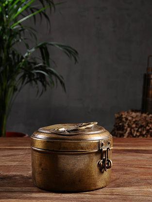 Vintage Brass Chapati Box (Dia - 5in, H- 3.2in)