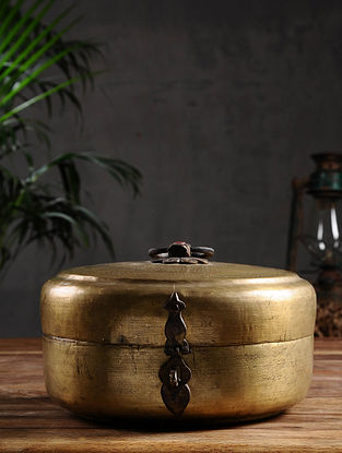 Vintage Brass Chapati Box (Dia- 9in, H - 4.5in)