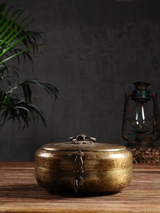Vintage Brass Chapati Box (Dia - 8in, H - 4in)