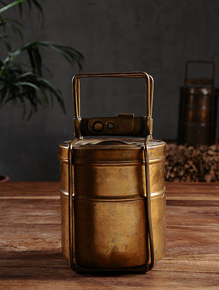 Vintage Brass Two-Tier Lunch Box ( Dia- 4.2in, H - 7.6in)