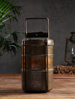 Vintage Brass Three-Tier Lunch Box (Dia- 4.5in, H - 10.5in)