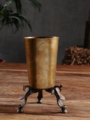 Vintage Brass Cutlery Holder (Dia - 3in, H - 6in)