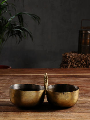 Vintage Brass Twin Bowls (Dia- 3 in, H- 3.5in)