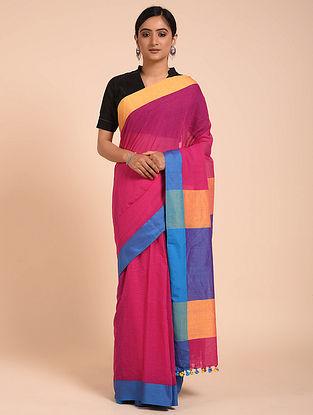 Pink-Blue Handwoven Cotton Saree