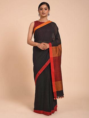 Black-Orange Handwoven Cotton Saree