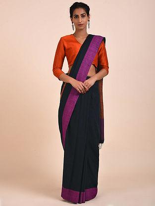 Black-Purple Handwoven Cotton Saree