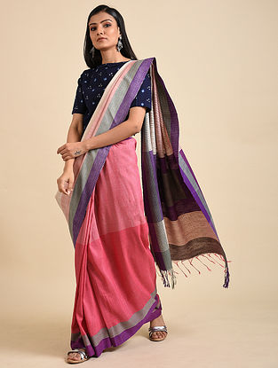 Pink-Purple Handwoven Matka Silk Saree