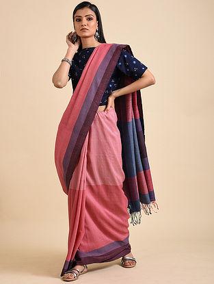 Pink-Blue Handwoven Matka Silk Saree