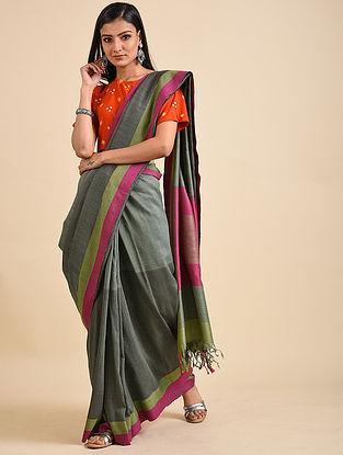 Grey-Pink Handwoven Matka Silk Saree