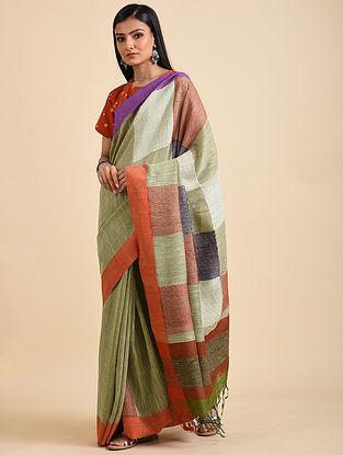 Green-Purple Linen Matka Silk Saree