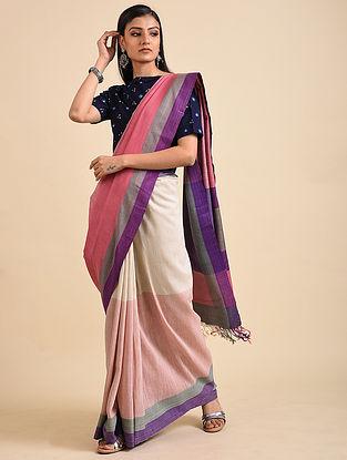 Pink-Ivory Handwoven Matka Silk Saree