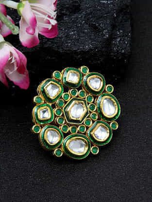 Green Gold Tone Kundan Ring