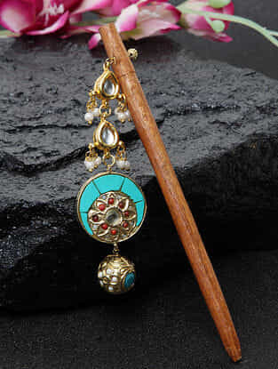 Turquoise And Wooden Gold Tone Kundan Hair Pin