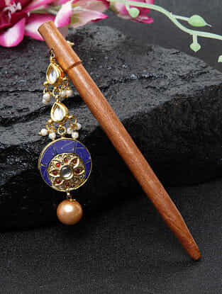 Blue Gold Tone Kundan Hair Pin With Pearls and Wood