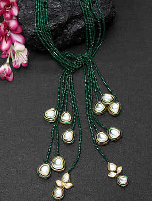 Green Gold Tone Kundan Beaded Necklace