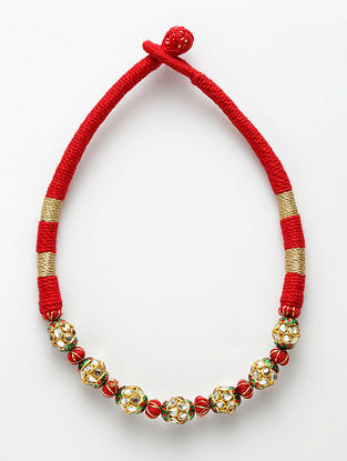 Red Gold Plated Kundan Necklace