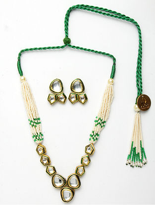 Green Gold Plated Kundan Pearl Beaded Necklace With Earrings