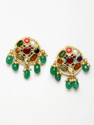Multicolored Navratan Gold Plated Kundan Beaded Earrings