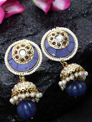 Blue Gold Plated Jhumki Earrings with Pearls