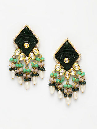 Green Gold Plated Kundan Earrings With Pearls