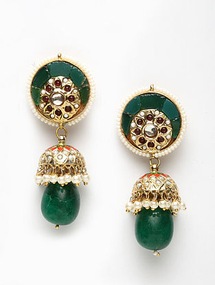 Green Gold Plated Kundan Jhumki Earrings with Pearls