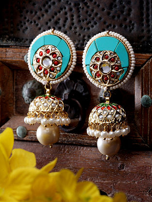 Turquoise Gold Plated Jhumki Earrings With Pearls