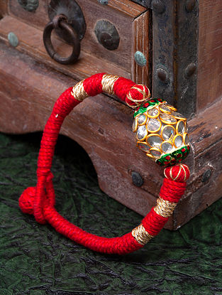Red Gold Plated Kundan Bracelet