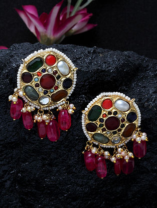 Multicolor Navratan Gold Plated Kundan Earrings