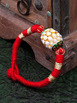 Red White Pearl Handcrafted Bracelet