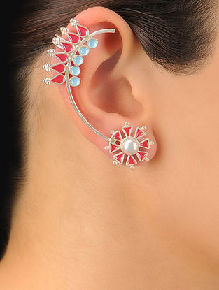 Pair of Floral Silver Ear Cuffs