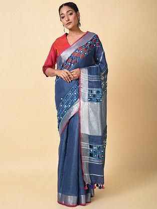 Blue Linen Saree with Mirror Work
