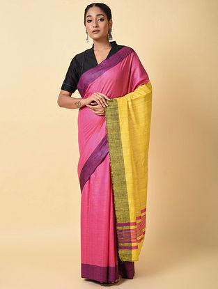 Pink-Yellow Handwoven Tussar Silk Saree