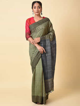 Olive-Grey Handwoven Tussar Silk Saree with Cut Work