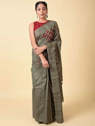 Grey-Red Handwoven Tussar Silk Saree with Cut Work