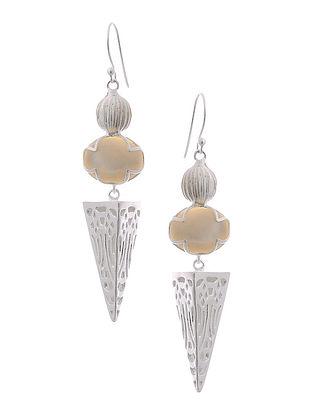 White Agate Silver Earrings