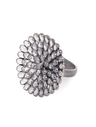 Crystal Adjustable Silver Ring