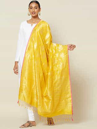 Yellow Cut Work Silk Dupatta with Zari