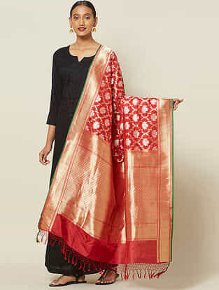 Red Cut Work Silk Dupatta wit Zari