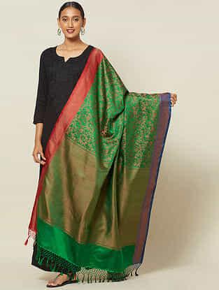 Green Benarasi Tanchoi Silk Dupatta