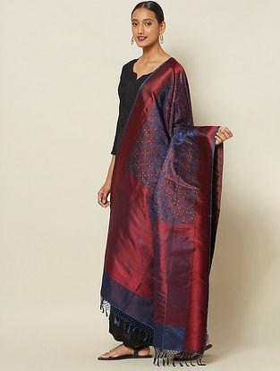 Red-Blue Benarasi Tanchoi Silk Dupatta