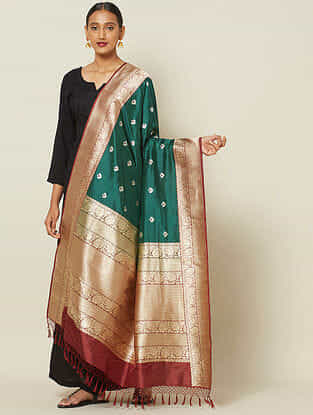 Green Benarasi Kadwa Silk Dupatta with Zari