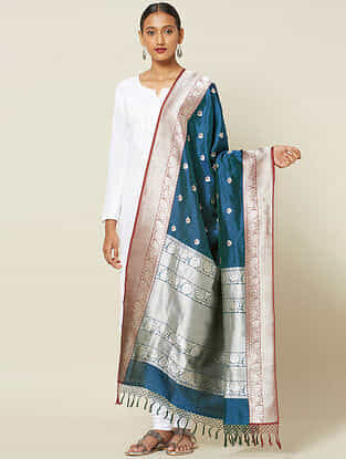 Teal Benarasi Kadwa Silk Dupatta with Zari
