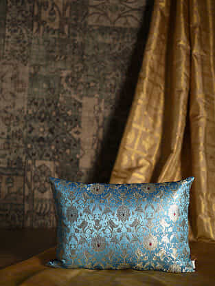 Medow Flower Blue Silk Cushion Cover (19.5in x 14in)