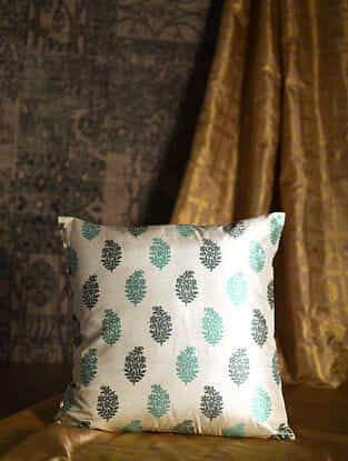 Ambi Green Silk Cushion Cover (19.5in x 19.5in)