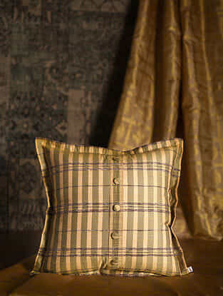 Block Stripe Yellow Silk Cushion Cover (20in x 20in)