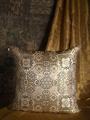 Oriental Lotus Golden Silk Cushion Cover (26in x 26in)