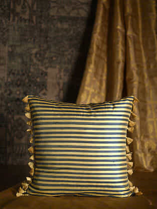 Ribbon Blue Silk Cushion Cover with Tassels (20in x 20in)