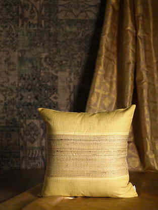 Block Stripes Mustard Cotton and Linen Cushion Cover (18in x 18in)